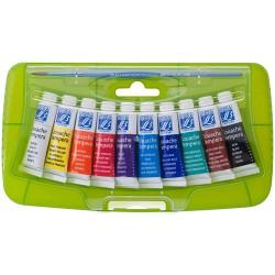 Boite en plastique de 10 tubes de Gouache de couleurs + pinceau - LEFRANC BOURGEOIS