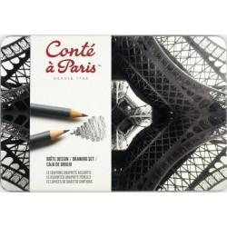 Boîte Métal « Dessin » de 12 Crayons Graphites Assortis - Conté à Paris