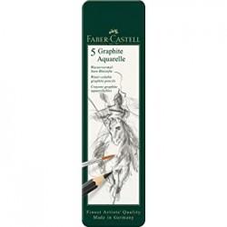 Crayon aquarelle graphite, boîte de 5 - Faber Castel