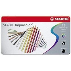 Boite métal de 12 crayons de couleur aquarellables - Stabilo