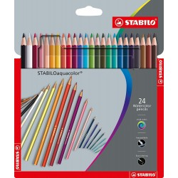 24 Crayons de couleur aquarelle Aquacolor assorties - Stabilo