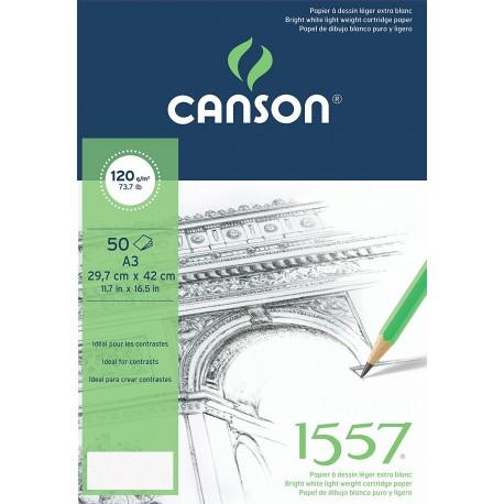Papier à dessin 1557  Grain Léger Blanc Pur 120 g/m² - A3 - 42 x 29.7 cm - Canson