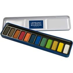 Boîte métal de 12 Pastilles d'aquarelles - Lefranc Bourgeois
