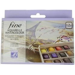 Boite Plastique Aquarelle Fine 12 Demi Godet - Lefranc & Bourgeois s