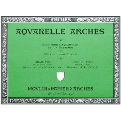 Bloc Aquarelle 20 Feuilles 300g/m² Grain Fin 23 x 31 cm Blanc Naturel - Arches