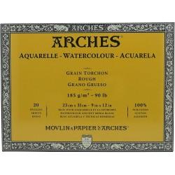 Bloc Aquarelle Grain TORCHON 20 Feuilles Natur Blanc 185G 23 x 31cm , 31 x 23 cm - Arches