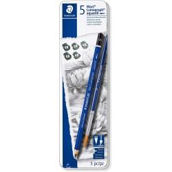 Boîte en métal avec 5 crayons graphites  aquarellables assortis et 1 pinceau - Staedtler