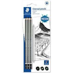 Étui blister avec 3 crayons fusains Lumograph Charcoal assortis et 1 estompe en papier - Staedtler