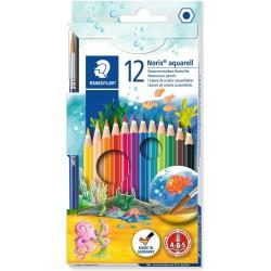 Étui carton avec 12 crayons Couleurs Aquarellables Tendres et 1 pinceau - Staedtler