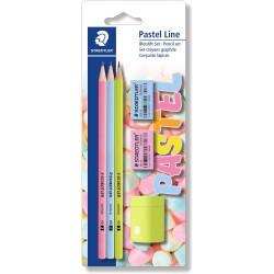 Set De 3 Crayons Graphites HB  Avec Gommes Et Taille-Crayon - Staedtler Pastel Line
