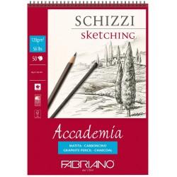 Bloc à spirale  de dessins 120 gr de 50 Feuilles 42x29.7 cm Accademia A3 - Fabriano