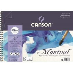 Album papier aquarelle spirale MONTVAL 300g A4  29.7x21cm 12F - Canson