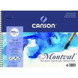 Album papier aquarelle spirale MONTVAL 300g   32x24cm 12F - Canson