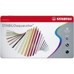 Boite métal de 24 crayons de couleur aquarellables - Stabilo