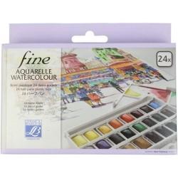 Boite Plastique Aquarelle Fine 24 Demi Godet - Lefranc & Bourgeois