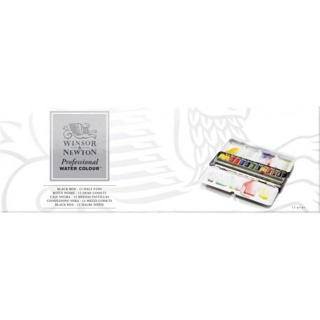 Coffret Aquarelle Professionnel Black Box de 12 - 1/2 Godet - Winsor & Newton