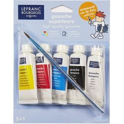 5 tubes de gouache de 20 ml avec pinceau - LEFRANC & BOURGEOIS