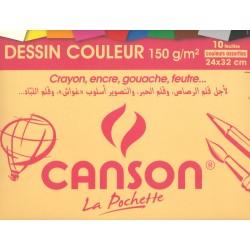 Pochette de 10 Feuilles Couleur 150g  32 x 24 cm - Canson
