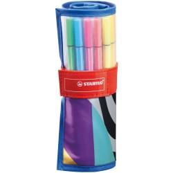 Etui Roller set 25 feutres dessins pointe moyenne Pen 68 - Stabilo