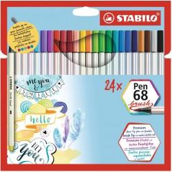 Pochette de 12 feutres pinceaux Pen 68 Brush - Stabilo