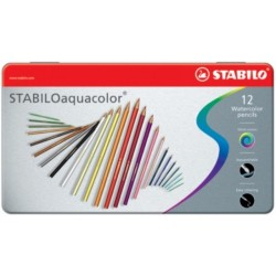 Boite métal de 12 Crayons de couleur aquarelle Aquacolor assorties - Stabilo