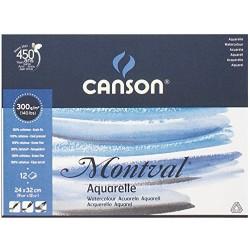 Bloc Papier aquarelle Montval 12 feuilles 300g Grain fin 24 x 32 cm Blanc naturel - Canson