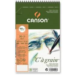 """Album Papier à dessin """"C"""" à Grain Spiral Notebook A5+, 30 Feuilles , 180 g/m² Blanc Naturel - Canson"""