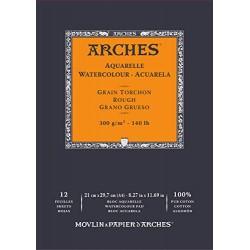 Bloc de 12 Papier Aquarelle Grain Torchon 300 Gr , 29.7 x 21 cm - Arches