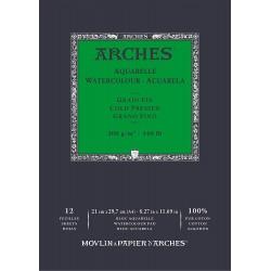 Bloc de 12 Papier Aquarelle Grain Fin 300 Gr , 29.7 x 21 cm - Arches